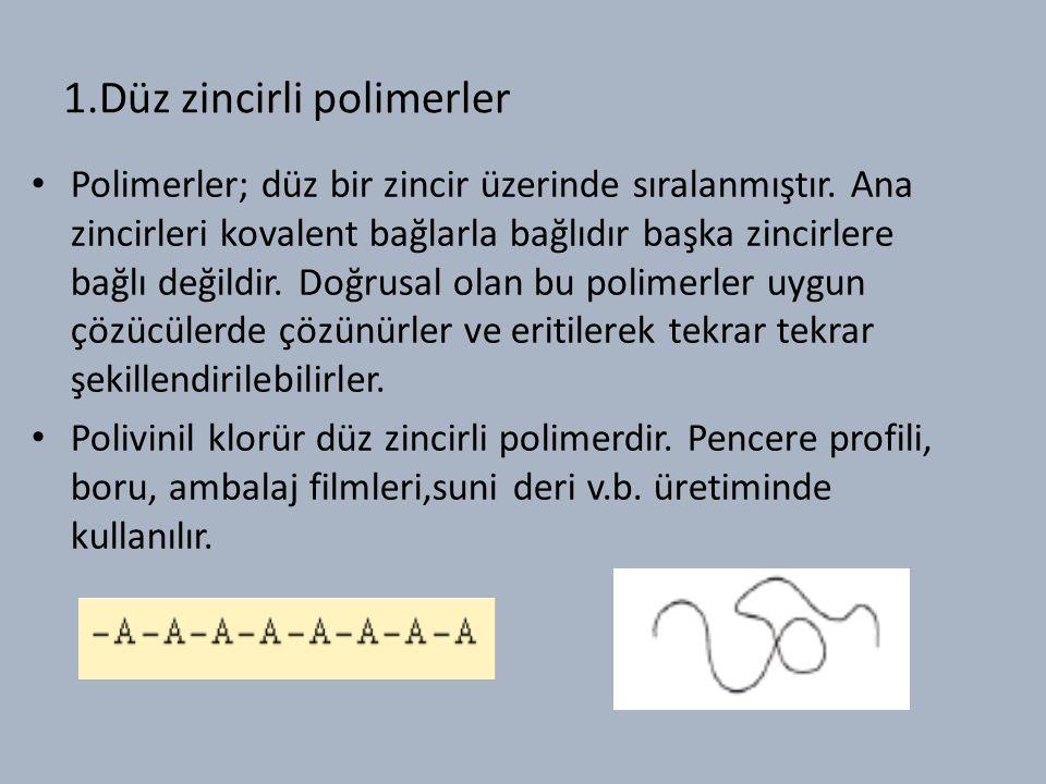 1.Düz zincirli polimerler Polimerler; düz bir zincir üzerinde sıralanmıştır.