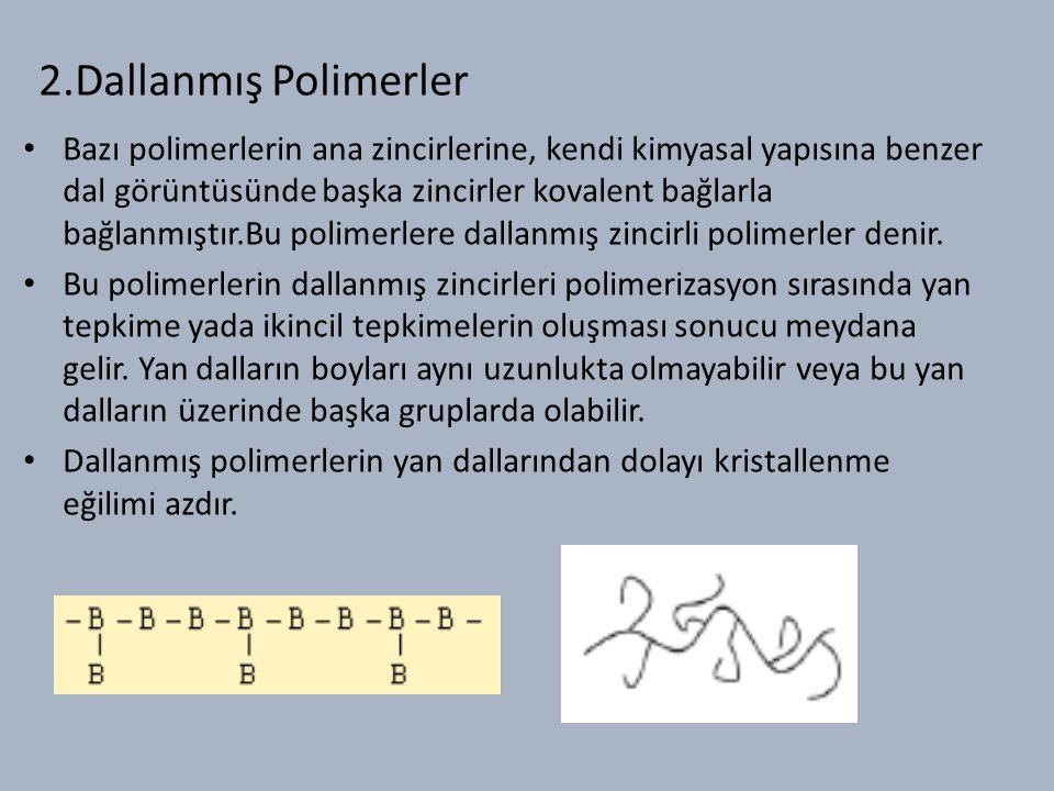 2.Dallanmış Polimerler Bazı polimerlerin ana zincirlerine, kendi kimyasal yapısına benzer dal görüntüsünde başka zincirler kovalent bağlarla bağlanmıştır.Bu polimerlere dallanmış zincirli polimerler denir.