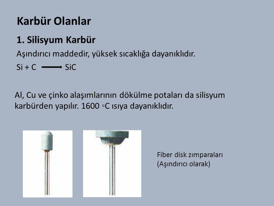 Karbür Olanlar 1.Silisyum Karbür Aşındırıcı maddedir, yüksek sıcaklığa dayanıklıdır.