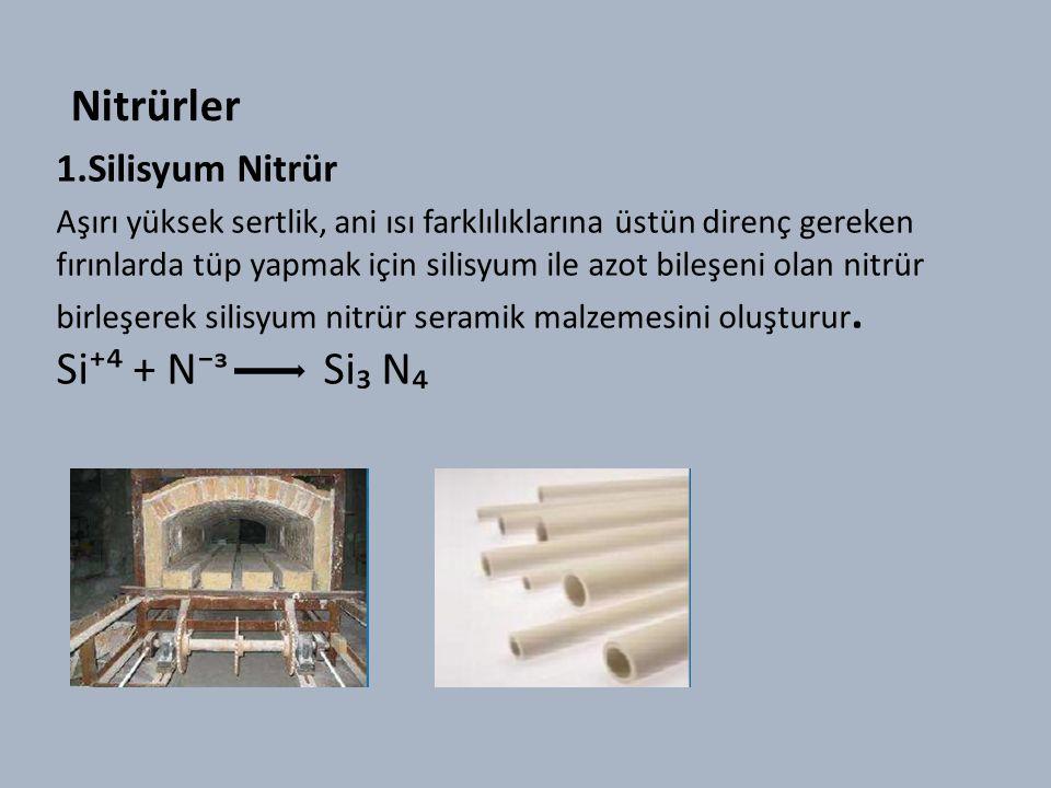 Nitrürler 1.Silisyum Nitrür Aşırı yüksek sertlik, ani ısı farklılıklarına üstün direnç gereken fırınlarda tüp yapmak için silisyum ile azot bileşeni olan nitrür birleşerek silisyum nitrür seramik malzemesini oluşturur.