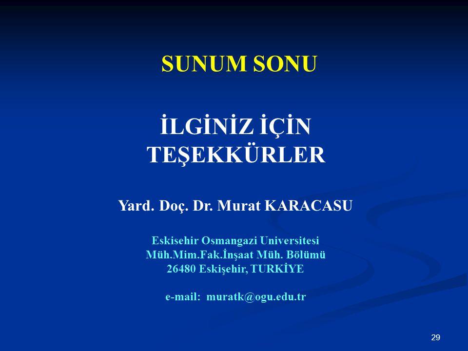 29 SUNUM SONU İLGİNİZ İÇİN TEŞEKKÜRLER Yard. Doç. Dr. Murat KARACASU Eskisehir Osmangazi Universitesi Müh.Mim.Fak.İnşaat Müh. Bölümü 26480 Eskişehir,