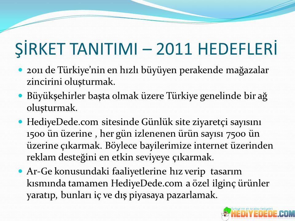 ŞİRKET TANITIMI – 2011 HEDEFLERİ 2011 de Türkiye'nin en hızlı büyüyen perakende mağazalar zincirini oluşturmak. Büyükşehirler başta olmak üzere Türkiy