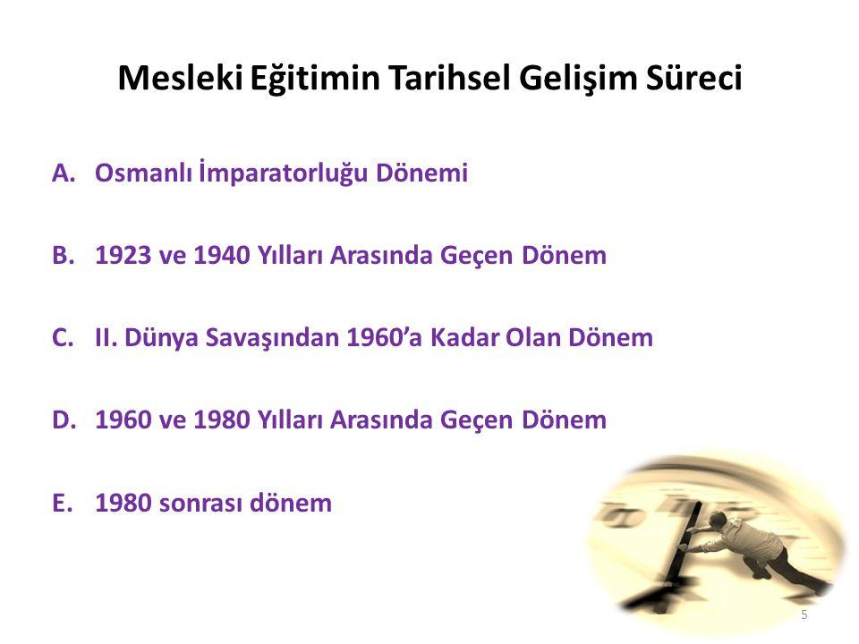 Mesleki Eğitimin Tarihsel Gelişim Süreci A.Osmanlı İmparatorluğu Dönemi B.1923 ve 1940 Yılları Arasında Geçen Dönem C.II.