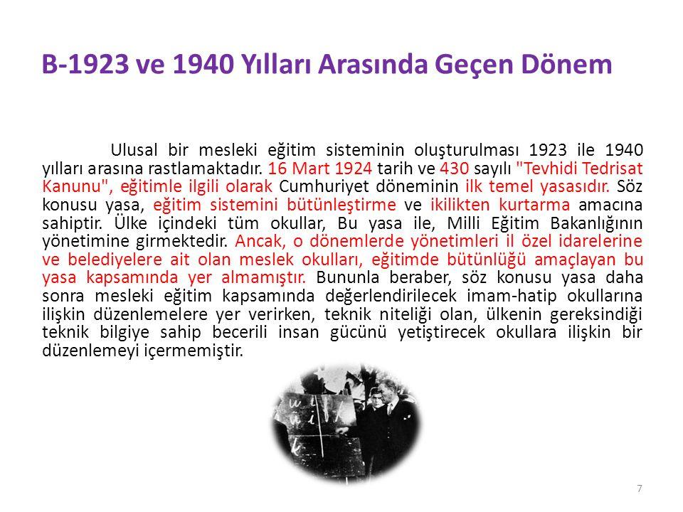 B-1923 ve 1940 Yılları Arasında Geçen Dönem Ulusal bir mesleki eğitim sisteminin oluşturulması 1923 ile 1940 yılları arasına rastlamaktadır.