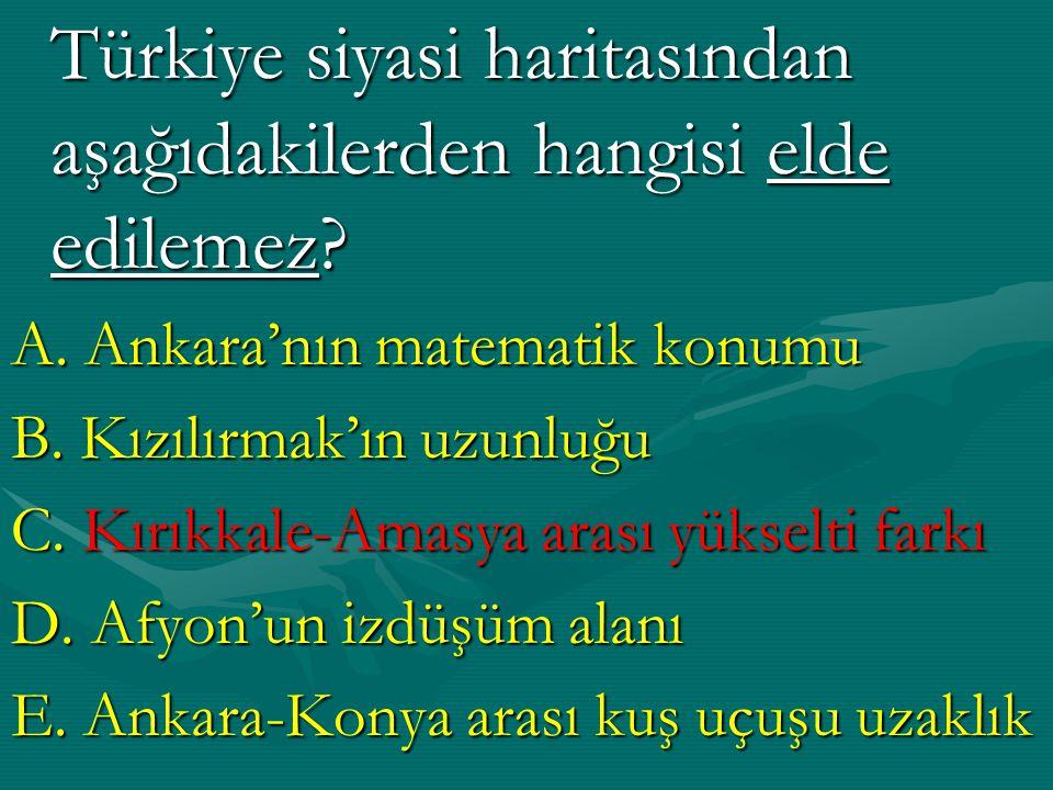 Türkiye siyasi haritasından aşağıdakilerden hangisi elde edilemez.