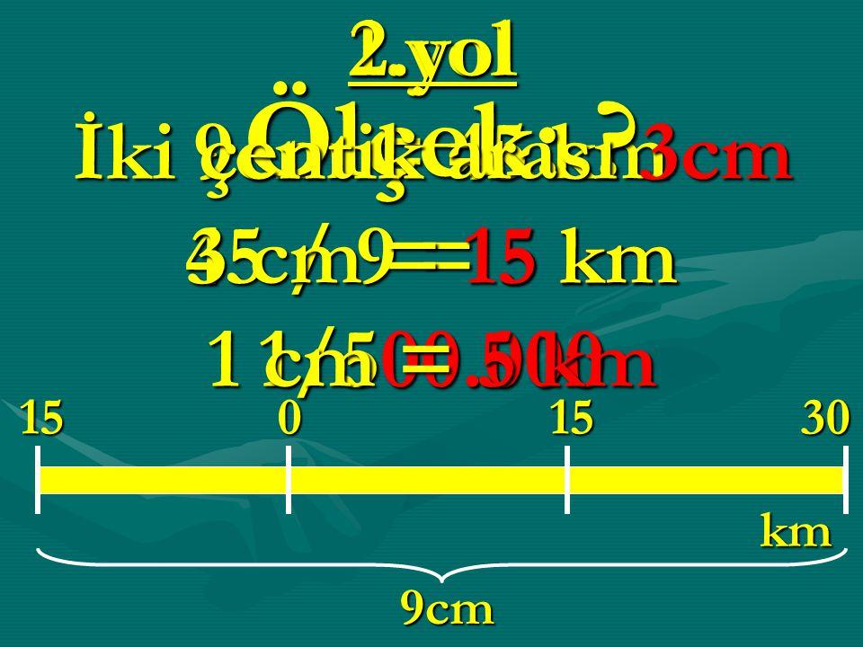 1.yol 9cm = 45 km 45 / 9 = 5 km 1/500.000 1515300 km 9cm Ölçek: .