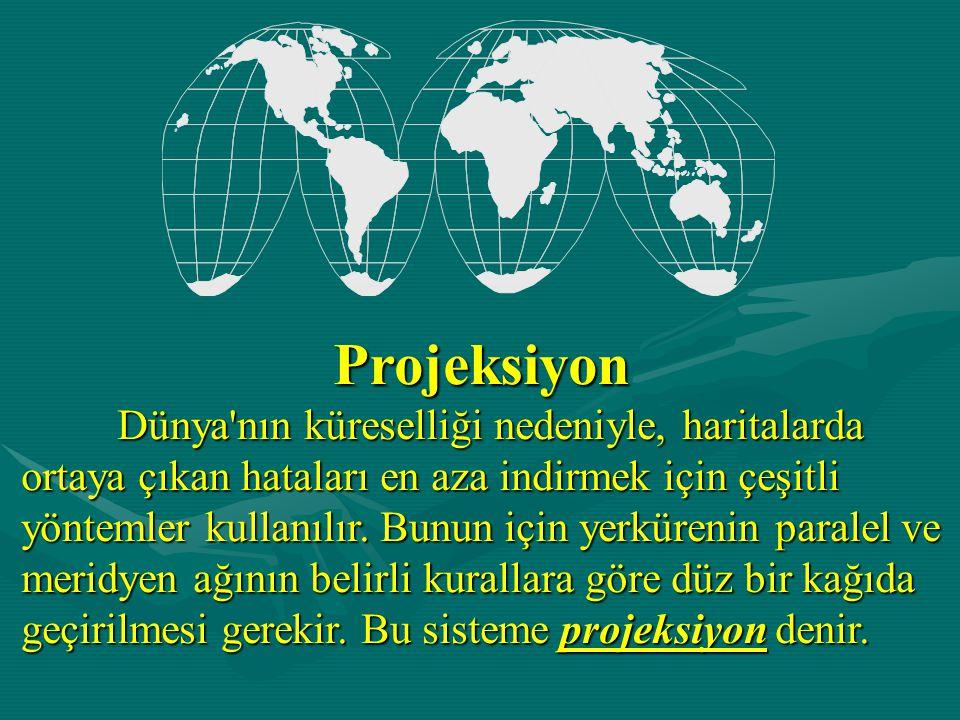Projeksiyon Dünya nın küreselliği nedeniyle, haritalarda ortaya çıkan hataları en aza indirmek için çeşitli yöntemler kullanılır.
