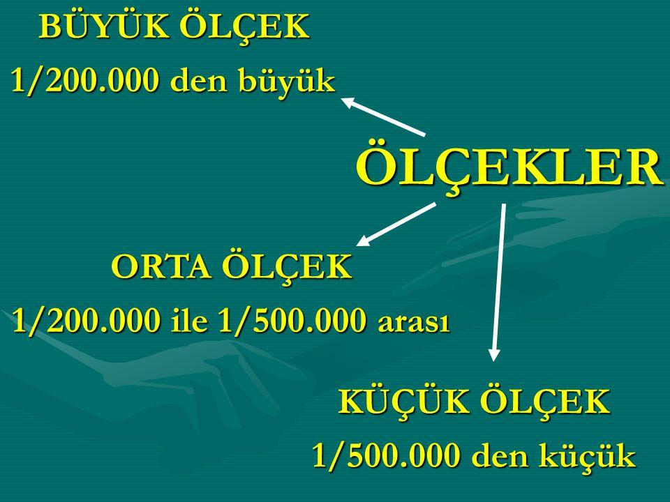 ÖLÇEKLER BÜYÜK ÖLÇEK 1/200.000 den büyük KÜÇÜK ÖLÇEK 1/500.000 den küçük ORTA ÖLÇEK 1/200.000 ile 1/500.000 arası
