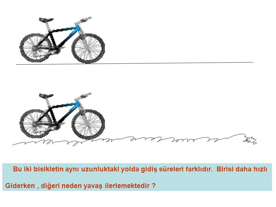 Bu iki bisikletin aynı uzunluktaki yolda gidiş süreleri farklıdır. Birisi daha hızlı Giderken, diğeri neden yavaş ilerlemektedir ?