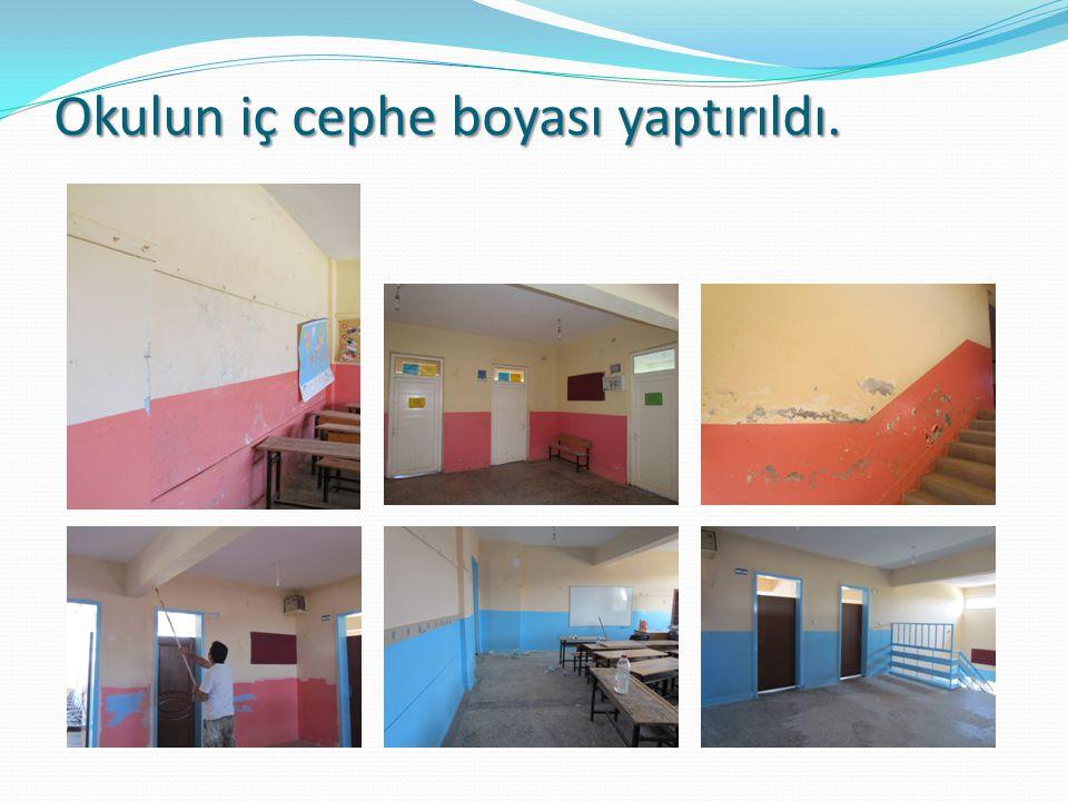 Okulun iç cephe boyası yaptırıldı.