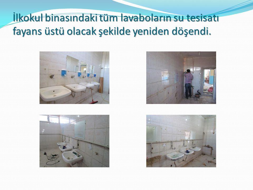 İlkokul binasındaki tüm lavaboların su tesisatı fayans üstü olacak şekilde yeniden döşendi.