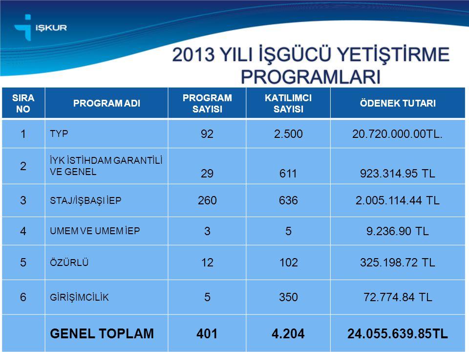2013 YILI İŞGÜCÜ YETİŞTİRME PROGRAMLARI 15 SIRA NO PROGRAM ADI PROGRAM SAYISI KATILIMCI SAYISI ÖDENEK TUTARI 1 TYP 922.50020.720.000.00TL. 2 İYK İSTİH