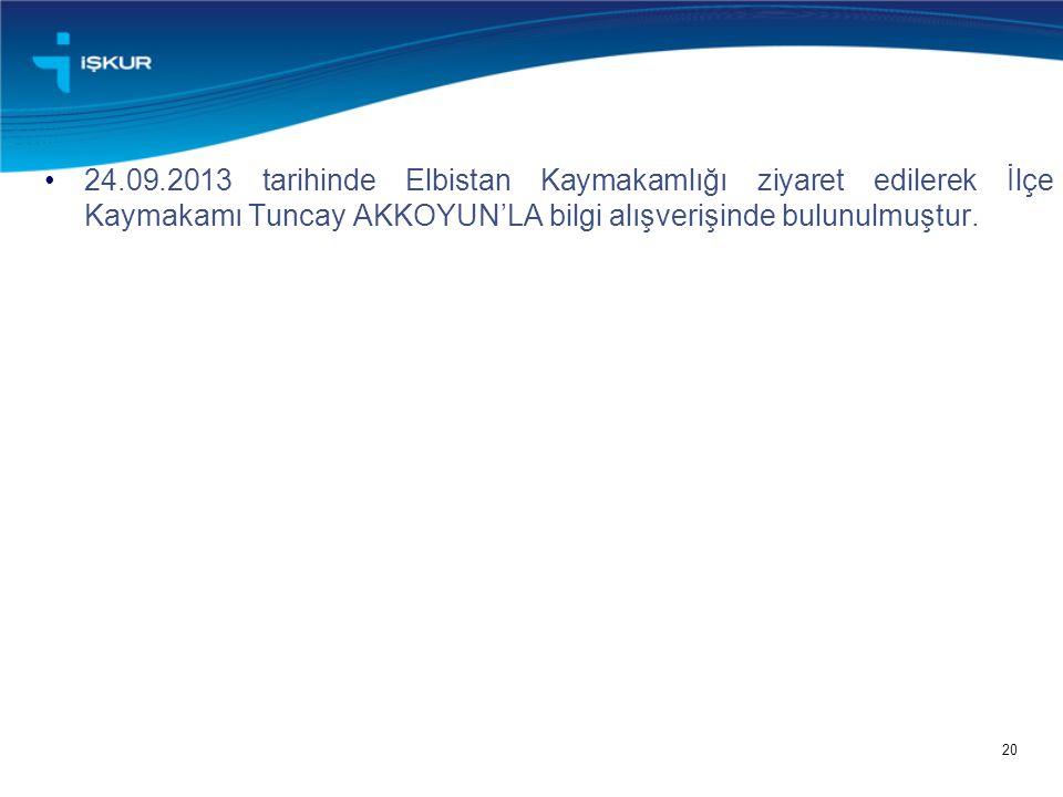 20 24.09.2013 tarihinde Elbistan Kaymakamlığı ziyaret edilerek İlçe Kaymakamı Tuncay AKKOYUN'LA bilgi alışverişinde bulunulmuştur.