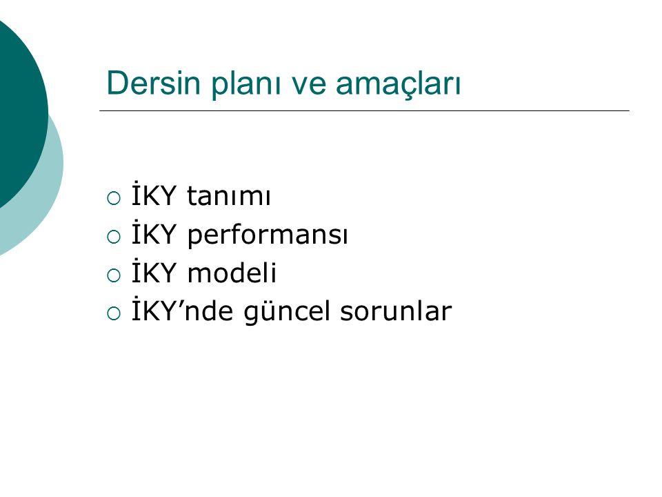 Dersin planı ve amaçları  İKY tanımı  İKY performansı  İKY modeli  İKY'nde güncel sorunlar