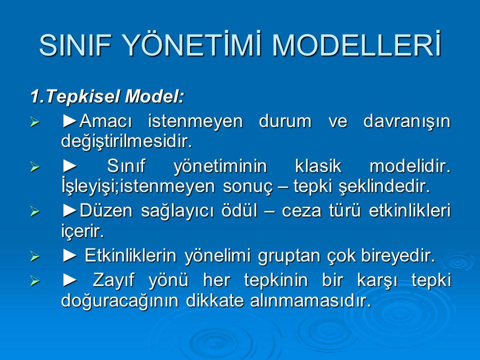 SINIF YÖNETİMİ MODELLERİ 1.Tepkisel Model:  ►Amacı istenmeyen durum ve davranışın değiştirilmesidir.