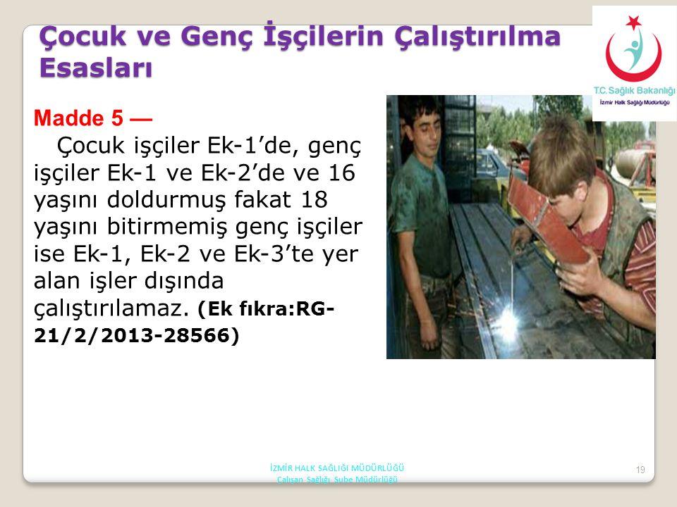 19 Madde 5 — Çocuk işçiler Ek-1'de, genç işçiler Ek-1 ve Ek-2'de ve 16 yaşını doldurmuş fakat 18 yaşını bitirmemiş genç işçiler ise Ek-1, Ek-2 ve Ek-3