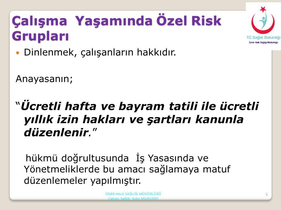 7 Çalışma Yaşamında Özel Risk Grupları T.C Anayasası 50.