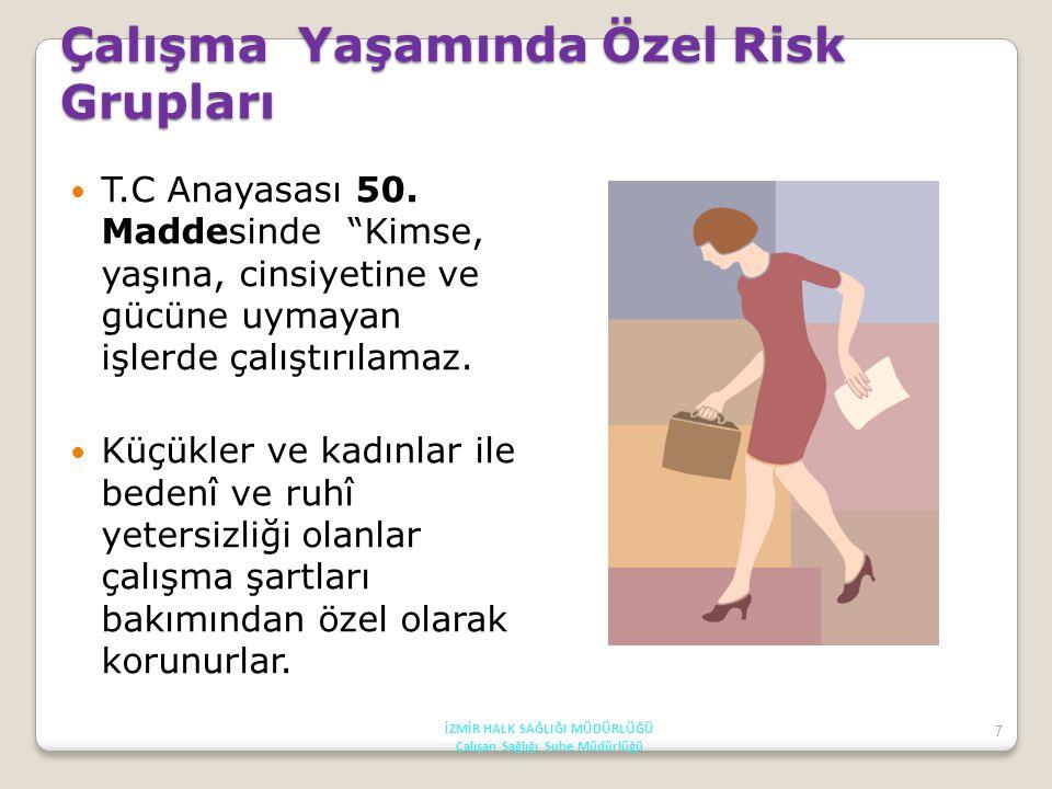 8 Çalışma Yaşamında Risk Grupları Kadınlar, Çocuklar, Genç işçiler, Özürlüler, Eski hükümlüler, Yaşlılar İZMİR HALK SAĞLIĞI MÜDÜRLÜĞÜ Çalışan Sağlığı Şube Müdürlüğü