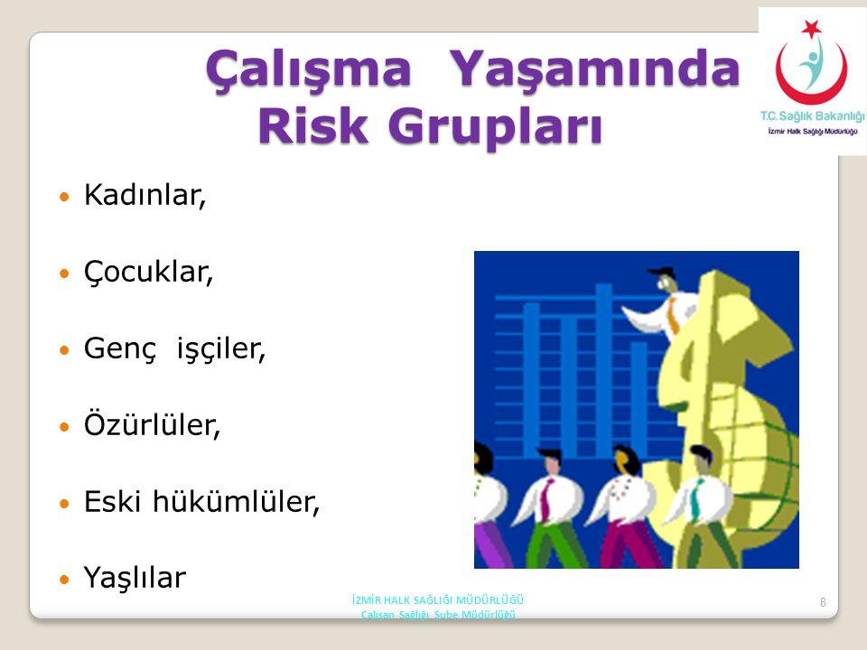 8 Çalışma Yaşamında Risk Grupları Kadınlar, Çocuklar, Genç işçiler, Özürlüler, Eski hükümlüler, Yaşlılar İZMİR HALK SAĞLIĞI MÜDÜRLÜĞÜ Çalışan Sağlığı