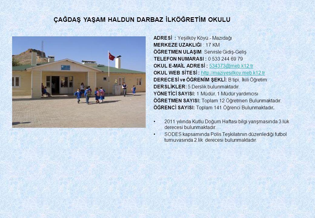 ADRESİ : Yeşilköy Köyü.- Mazıdağı MERKEZE UZAKLIĞI : 17 KM ÖĞRETMEN ULAŞIM: Servisle Gidiş-Geliş TELEFON NUMARASI : 0 533 244 69 79 OKUL E-MAİL ADRESİ