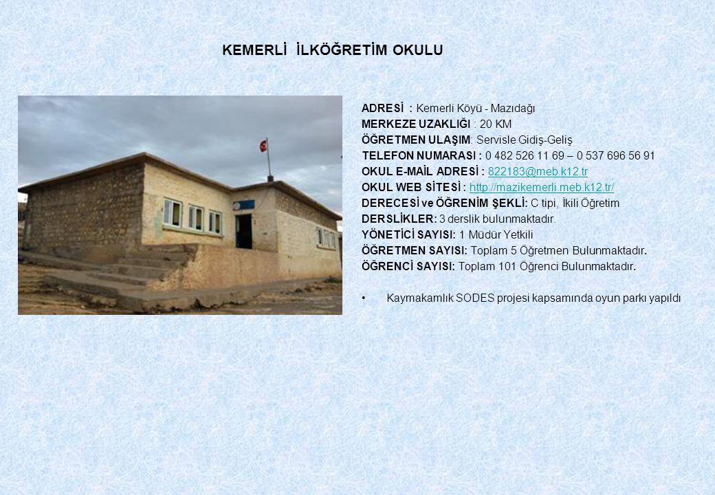ADRESİ : Kemerli Köyü - Mazıdağı MERKEZE UZAKLIĞI : 20 KM ÖĞRETMEN ULAŞIM: Servisle Gidiş-Geliş TELEFON NUMARASI : 0 482 526 11 69 – 0 537 696 56 91 O