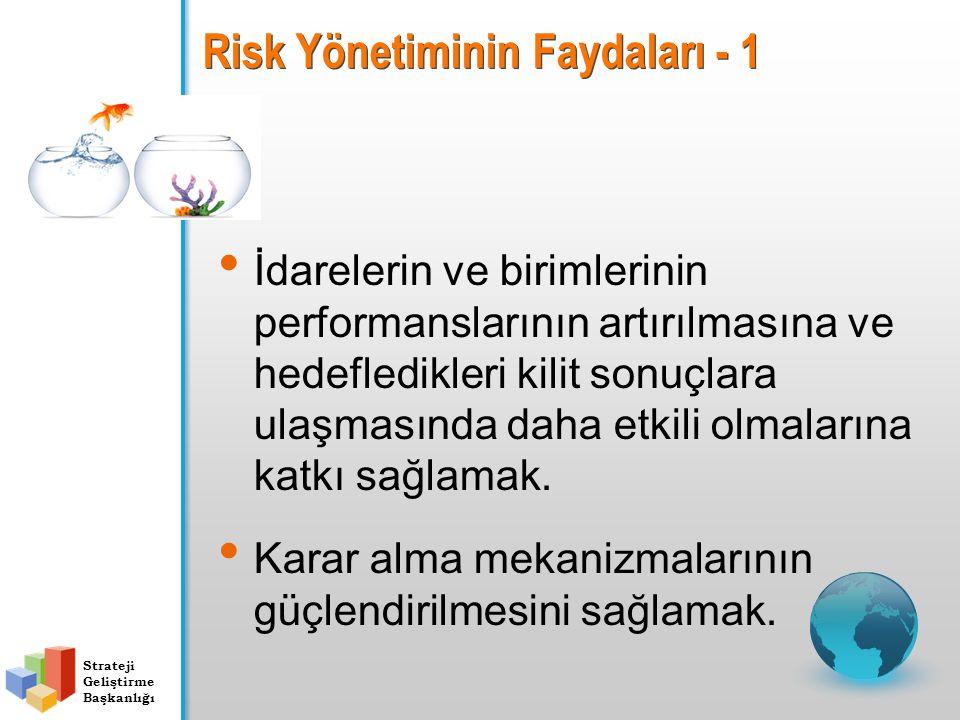 Strateji Geliştirme Başkanlığı Risk Yönetiminin Faydaları - 1 İdarelerin ve birimlerinin performanslarının artırılmasına ve hedefledikleri kilit sonuç