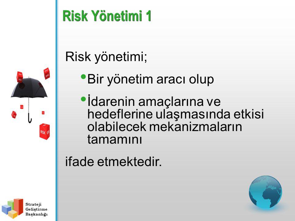 Risk Yönetimi 1 Strateji Geliştirme Başkanlığı Risk yönetimi; Bir yönetim aracı olup İdarenin amaçlarına ve hedeflerine ulaşmasında etkisi olabilecek