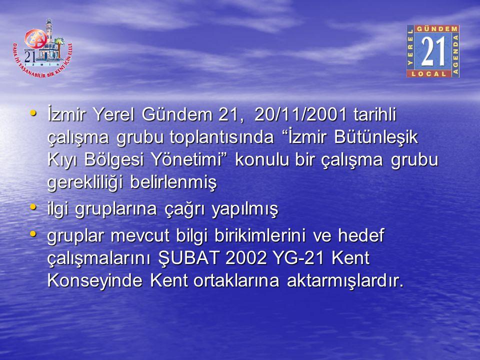 """İzmir Yerel Gündem 21, 20/11/2001 tarihli çalışma grubu toplantısında """"İzmir Bütünleşik Kıyı Bölgesi Yönetimi"""" konulu bir çalışma grubu gerekliliği be"""