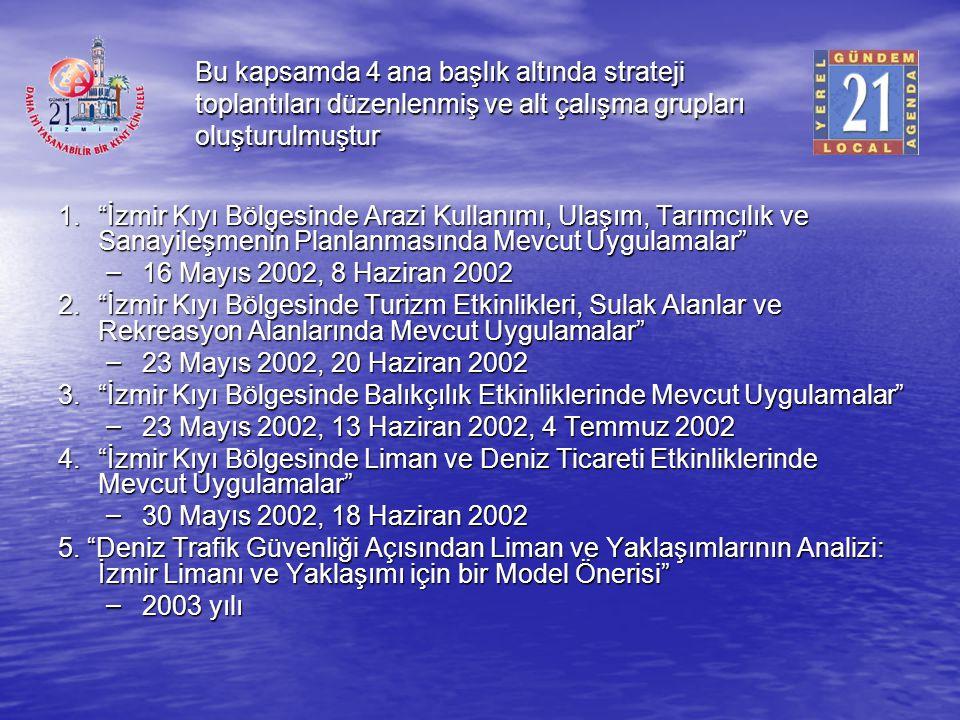 """Bu kapsamda 4 ana başlık altında strateji toplantıları düzenlenmiş ve alt çalışma grupları oluşturulmuştur 1.""""İzmir Kıyı Bölgesinde Arazi Kullanımı, U"""
