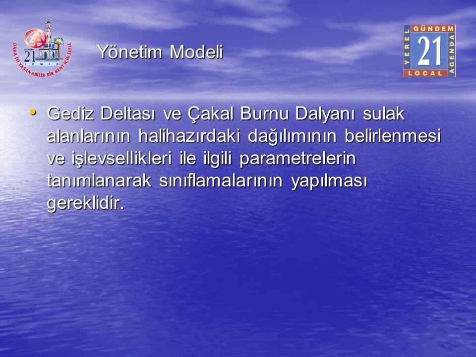Yönetim Modeli Gediz Deltası ve Çakal Burnu Dalyanı sulak alanlarının halihazırdaki dağılımının belirlenmesi ve işlevsellikleri ile ilgili parametrele