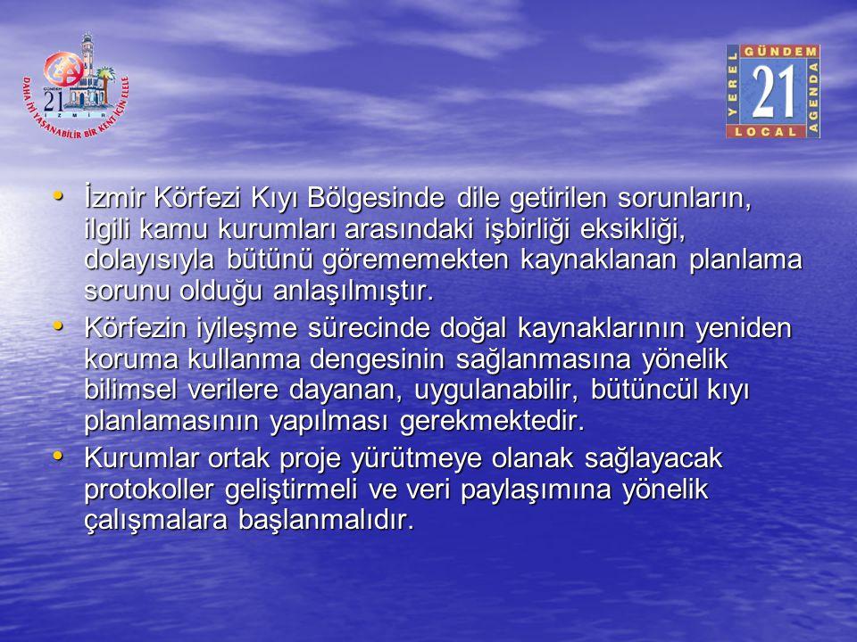 İzmir Körfezi Kıyı Bölgesinde dile getirilen sorunların, ilgili kamu kurumları arasındaki işbirliği eksikliği, dolayısıyla bütünü görememekten kaynakl