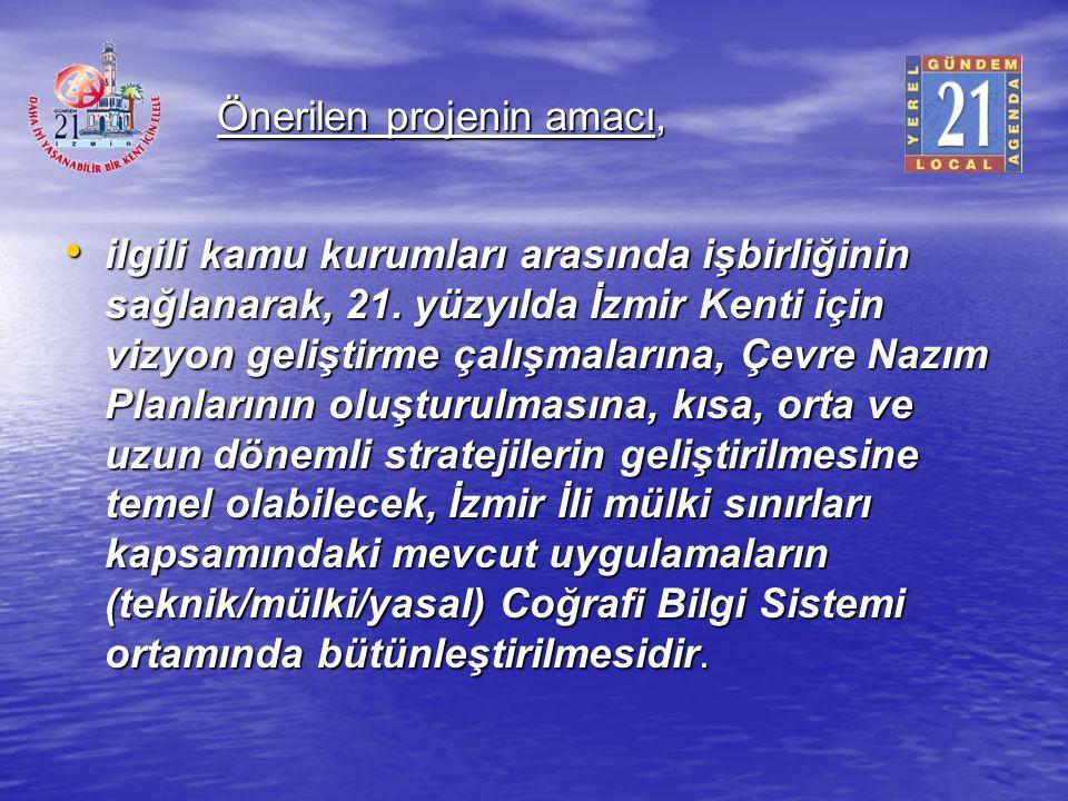 Önerilen projenin amacı, ilgili kamu kurumları arasında işbirliğinin sağlanarak, 21. yüzyılda İzmir Kenti için vizyon geliştirme çalışmalarına, Çevre