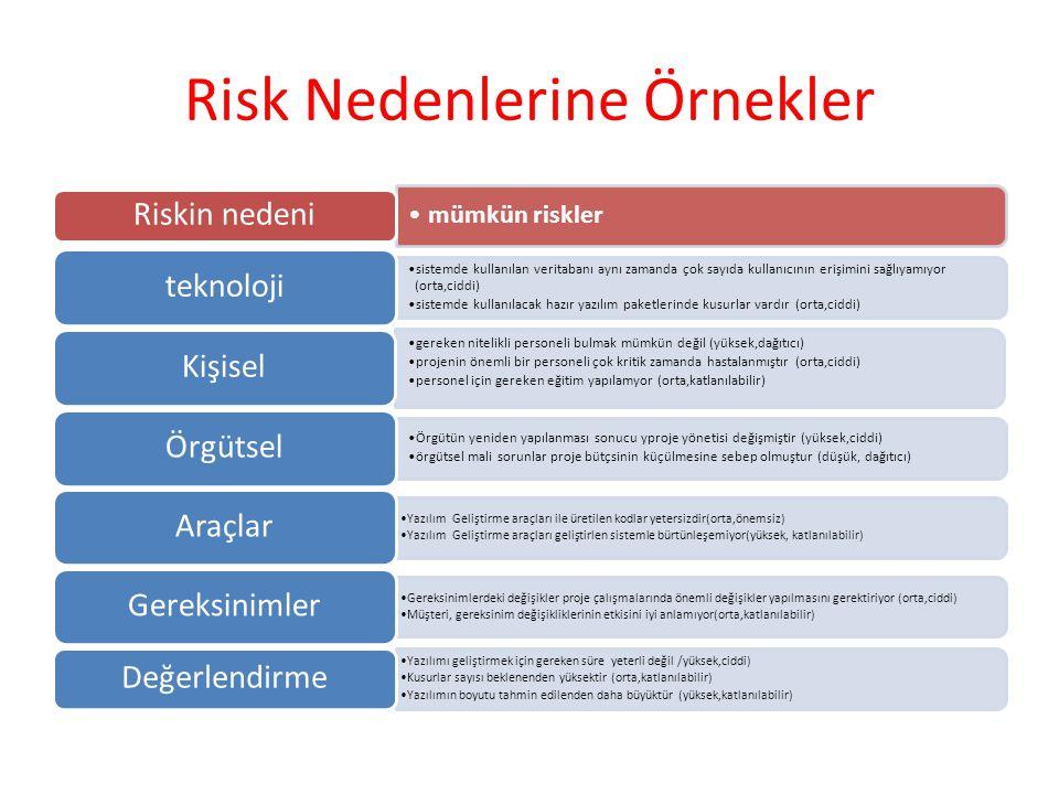 Risk Nedenlerine Örnekler mümkün riskler Riskin nedeni sistemde kullanılan veritabanı aynı zamanda çok sayıda kullanıcının erişimini sağlıyamıyor (ort