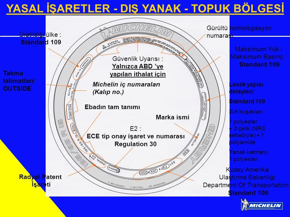 YASAL İŞARETLER - DIŞ YANAK - TOPUK BÖLGESİ Lastik yapısı detayları: Standard 109 Sırt kuşakları : 1 polyester + 3 çelik (NRS sebebiyle) + 1 polyamide