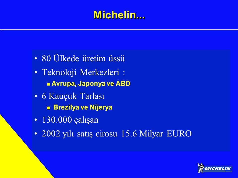 Michelin... 80 Ülkede üretim üssü Teknoloji Merkezleri : Avrupa, Japonya ve ABD 6 Kauçuk Tarlası Brezilya ve Nijerya 130.000 çalışan 2002 yılı satış c