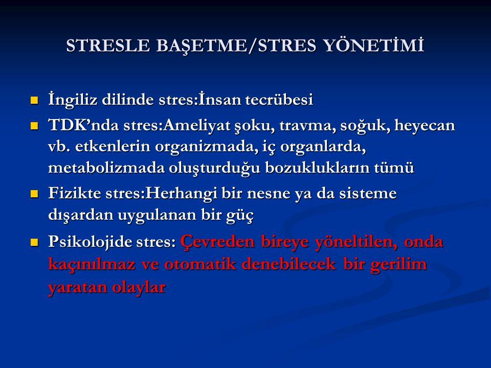 STRESLE BAŞETME/STRES YÖNETİMİ İngiliz dilinde stres:İnsan tecrübesi İngiliz dilinde stres:İnsan tecrübesi TDK'nda stres:Ameliyat şoku, travma, soğuk,