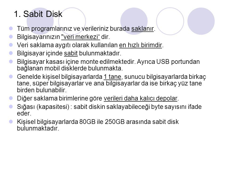 Bir diskin kapasitesini (sığa) hesaplama Her bir sektördeki Byte sayısı :512 S : Her bir izdeki sektör sayısı H : Head C : Her bir diskteki silindir sayısı KAPASİTE (sığa) : C * H * S * 512 (byte)