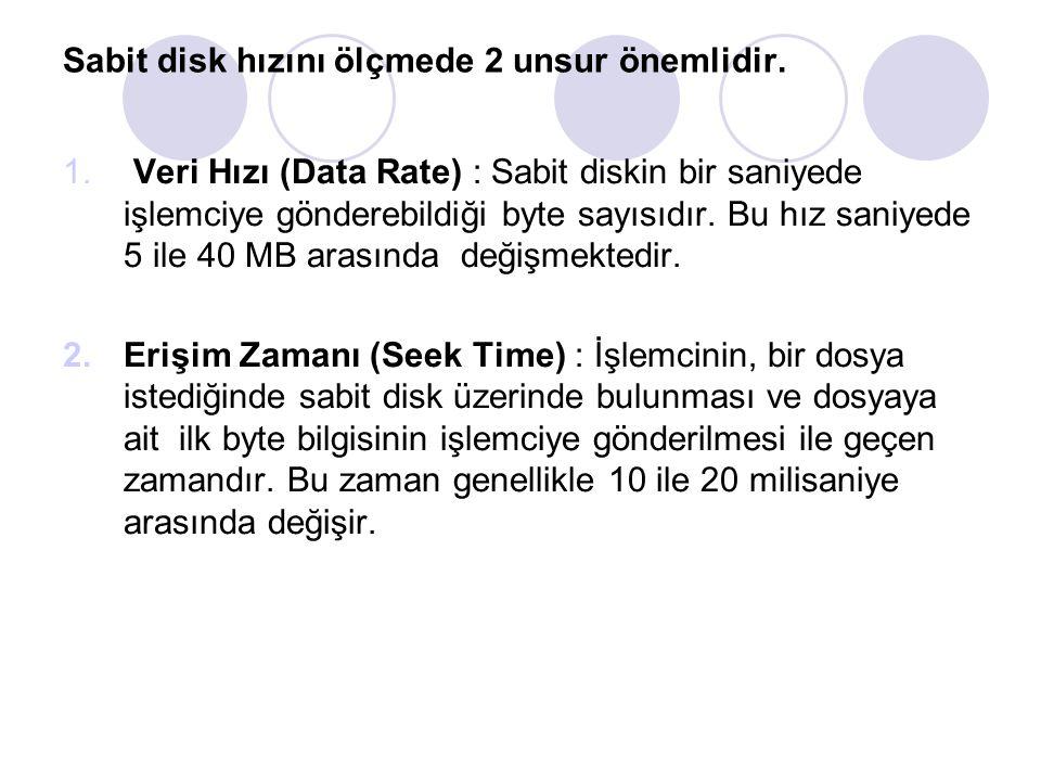 Sabit disk hızını ölçmede 2 unsur önemlidir. 1. Veri Hızı (Data Rate) : Sabit diskin bir saniyede işlemciye gönderebildiği byte sayısıdır. Bu hız sani