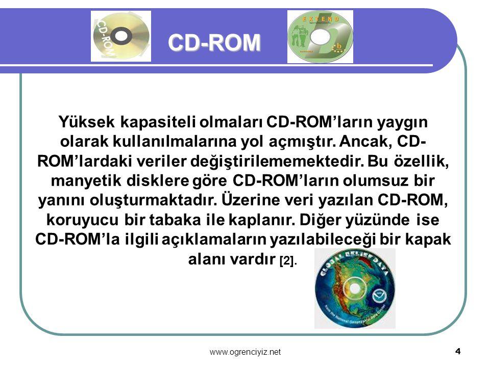 www.ogrenciyiz.net 3 CD-ROM, ingilizcede ki Compact Disk-Read Only Memory (yalnız okunur bellek yoğun disk) sözcüklerinin baş harflerinden oluşmuştur.