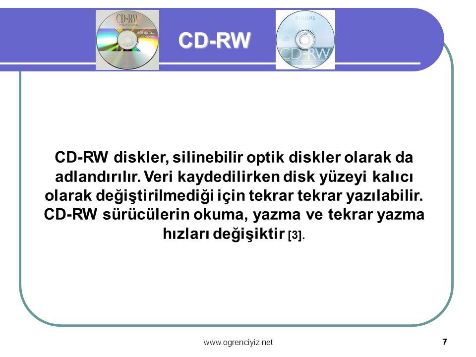 www.ogrenciyiz.net 6 DVD ( Digital Versatile Disk- Sayısal Çok Yönlü Disk ) CD-ROM'lara başka bir seçenek olarak DVD diye adlandırılan diskler piyasay