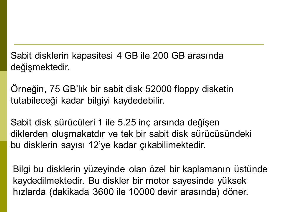 Sabit disklerin kapasitesi 4 GB ile 200 GB arasında değişmektedir. Örneğin, 75 GB'lık bir sabit disk 52000 floppy disketin tutabileceği kadar bilgiyi