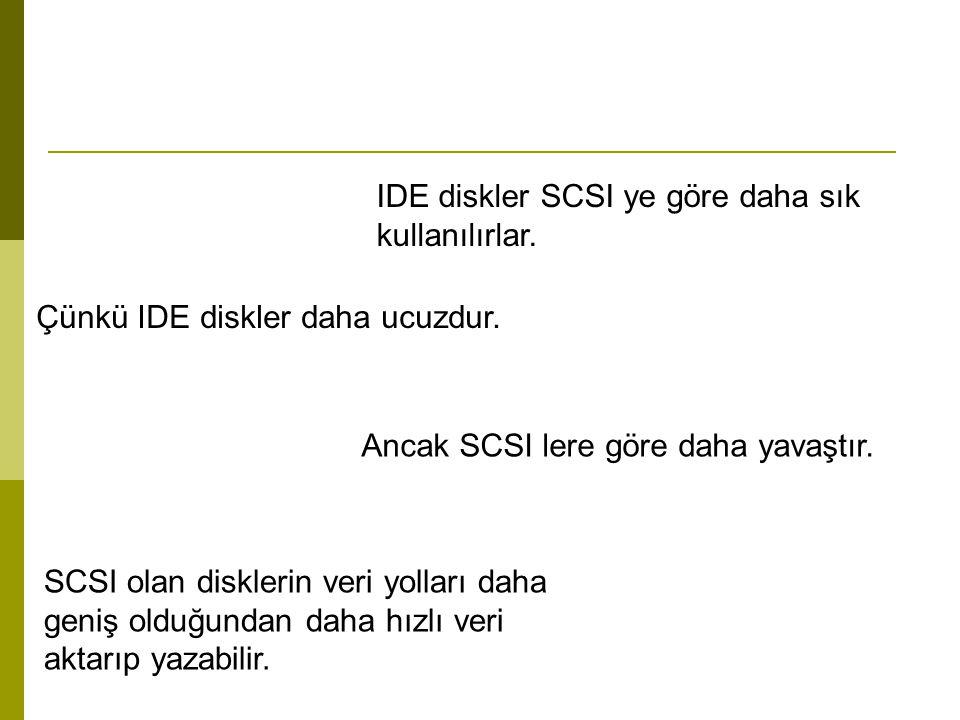 IDE diskler SCSI ye göre daha sık kullanılırlar. Çünkü IDE diskler daha ucuzdur. Ancak SCSI lere göre daha yavaştır. SCSI olan disklerin veri yolları