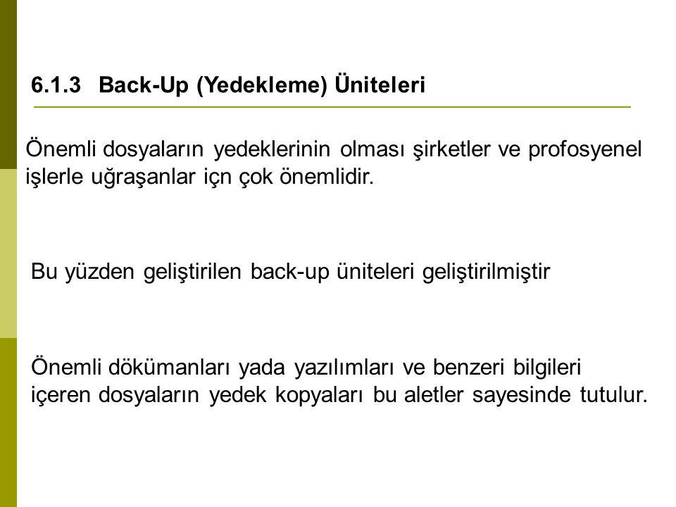 6.1.3Back-Up (Yedekleme) Üniteleri Önemli dosyaların yedeklerinin olması şirketler ve profosyenel işlerle uğraşanlar içn çok önemlidir. Bu yüzden geli