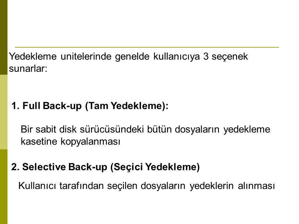 Yedekleme unitelerinde genelde kullanıcıya 3 seçenek sunarlar: 1.Full Back-up (Tam Yedekleme): Bir sabit disk sürücüsündeki bütün dosyaların yedekleme
