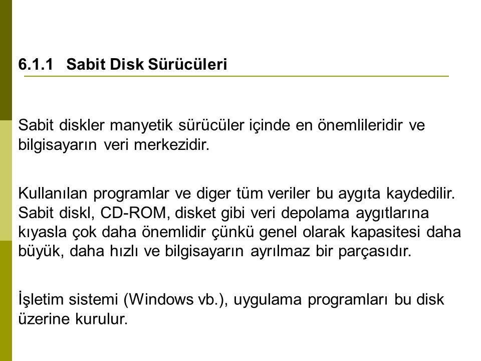 6.1.1Sabit Disk Sürücüleri Sabit diskler manyetik sürücüler içinde en önemlileridir ve bilgisayarın veri merkezidir. Kullanılan programlar ve diger tü