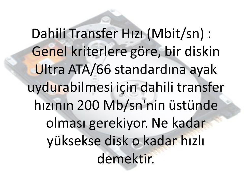 Dahili Transfer Hızı (Mbit/sn) : Genel kriterlere göre, bir diskin Ultra ATA/66 standardına ayak uydurabilmesi için dahili transfer hızının 200 Mb/sn'