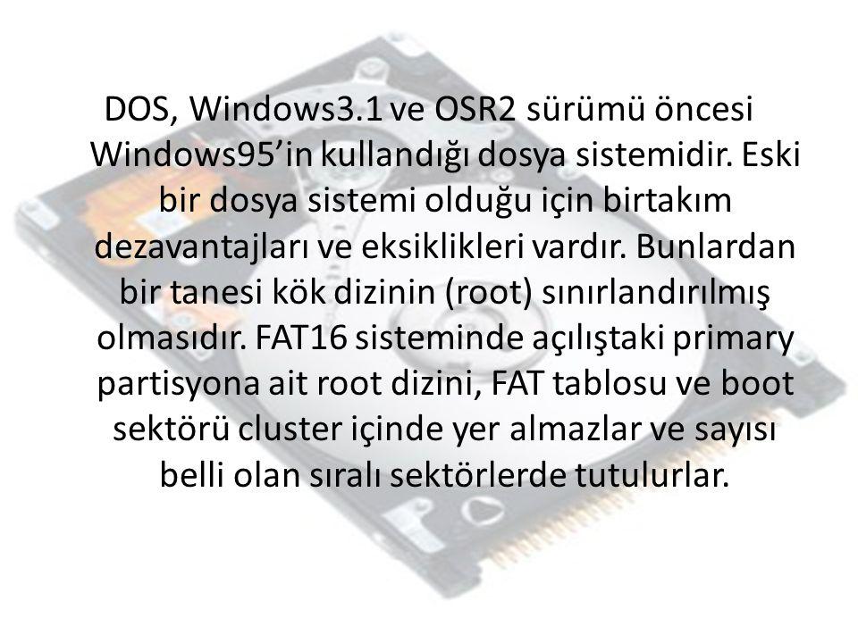 DOS, Windows3.1 ve OSR2 sürümü öncesi Windows95'in kullandığı dosya sistemidir. Eski bir dosya sistemi olduğu için birtakım dezavantajları ve eksiklik