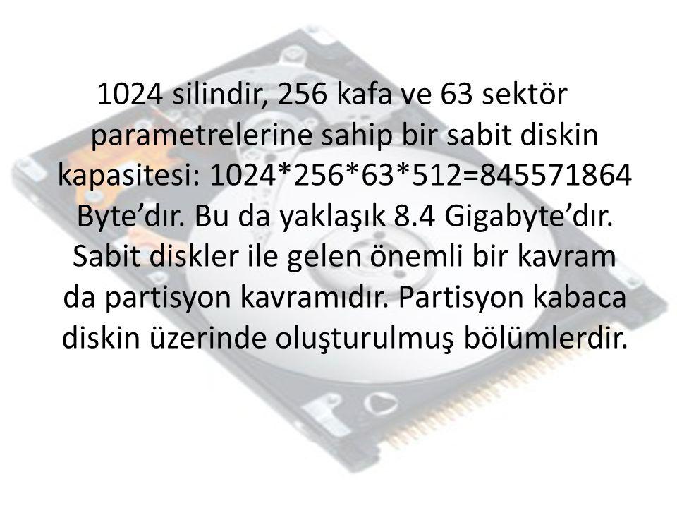 1024 silindir, 256 kafa ve 63 sektör parametrelerine sahip bir sabit diskin kapasitesi: 1024*256*63*512=845571864 Byte'dır. Bu da yaklaşık 8.4 Gigabyt