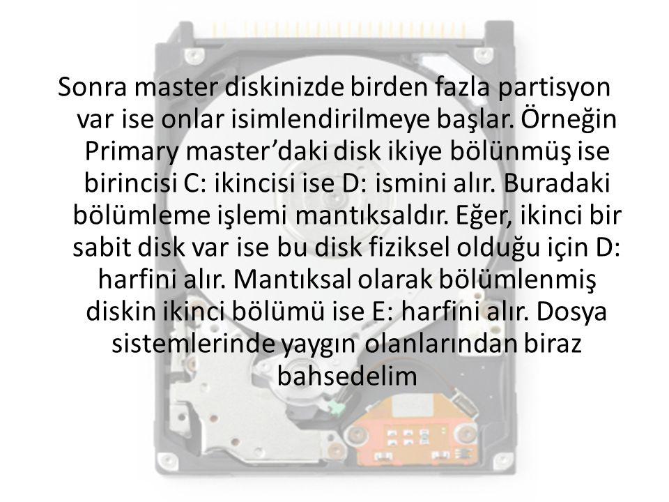 Sonra master diskinizde birden fazla partisyon var ise onlar isimlendirilmeye başlar. Örneğin Primary master'daki disk ikiye bölünmüş ise birincisi C: