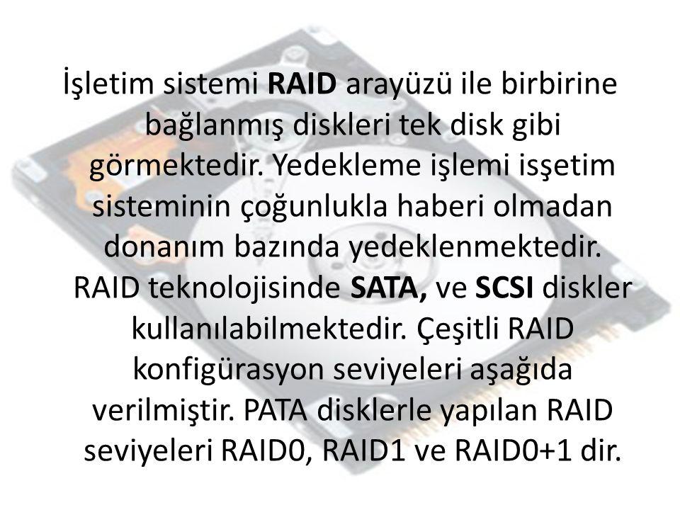 İşletim sistemi RAID arayüzü ile birbirine bağlanmış diskleri tek disk gibi görmektedir.